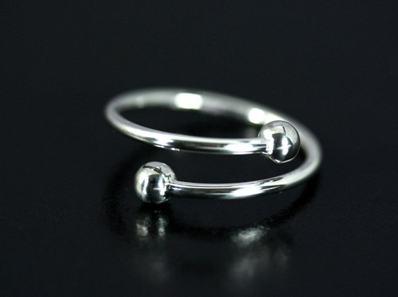 00264ee33488b Sterling silver double ball ring, Ball spiral ring sexy, Ring for men,  Silver ball wrap ring, Adjustable ball ring for body