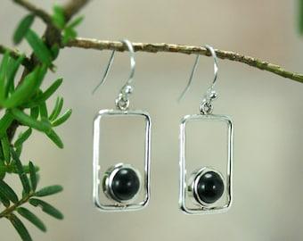 Black earrings, Drop earrings, Silver rectangle earrings with ebony wood, Modern, Silver dangle earrings, Classic design, Woodwork earrings