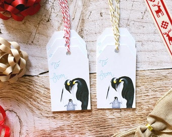 Penguin Gift Tag Set - Christmas Gift Tags, Paper Gift Tag, Penguin Art, Christmas Packaging, Christmas Gift Wrap