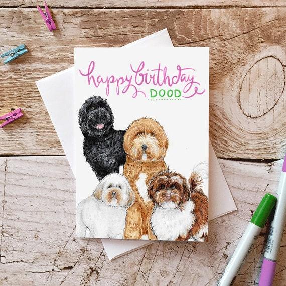 Doodle Dog Birthday Card Funny Cute