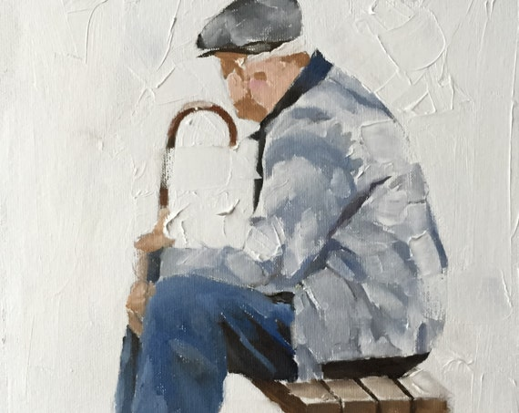 Old Man Painting Old Man Art Old Man PRINT Old Man on Bench - Art Print  - from original painting by J Coates