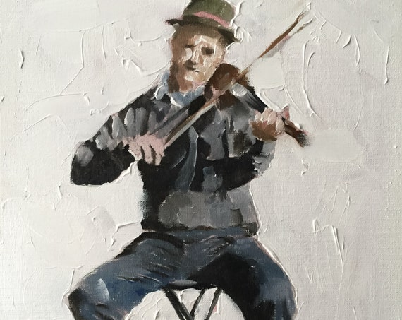 Busker Painting Fiddler Violinist Player Art PRINT music painting - Art Print - from original painting by J Coates