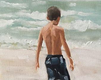 Child Playing Beach Painting Beach Art Beach PRINT Painting Children Art Boy on Beach Cornwall Art Print from original painting by J Coates