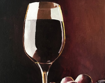 Red Wine Painting, Wine Art Wine PRINT - Art Print  - from original painting by J Coates