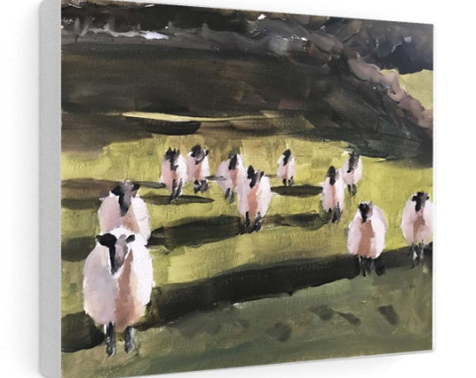 Sheep Painting, sheep Poster, Wall art, Canvas Print, Fine Art - from original oil painting by James Coates