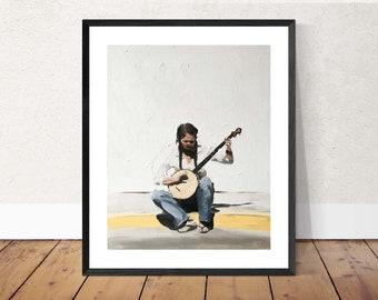Banjo Painting Banjo Player Art PRINT Woman Playing Banjo - Art Print  - from original painting by J Coates