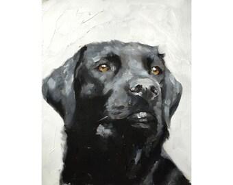 Black Labrador Art print, Black Lab, Canvas Wall Art, Black Labrador Oil Painting, Retriever Art Print, Dog lover Gift, Lab Painting