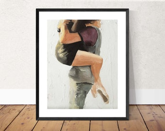 Couple hugging Painting - Poster  -Wall art - Canvas Print - Fine Art - from original oil painting by James Coates