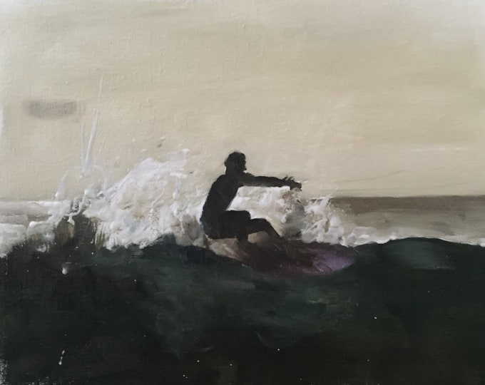 Surfer Painting - Beach art - Beach Print - Fine Art - from original oil painting by James Coates