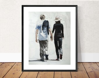 Couple Painting Couple Art Couple PRINT Walking Couple - Art Print - Love Wall Art from original painting by J Coates
