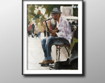 Music player - Painting -Wall art - Canvas Print - Fine Art - from original oil painting by James Coates