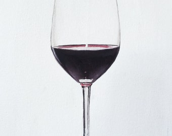 Wine Glass Painting Wine Art Wine PRINT Glass of Red Wine - Art Print  - from original painting by J Coates