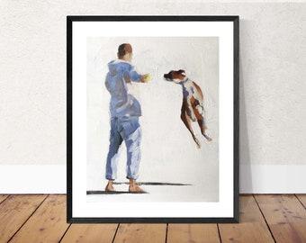 Boxer Dog Art Print, boxer dog gifts - Dog Art - Boxer Dog Print- Dog Wall Art - dog decor, boxer dog painting, boxer artwork, boxer lover