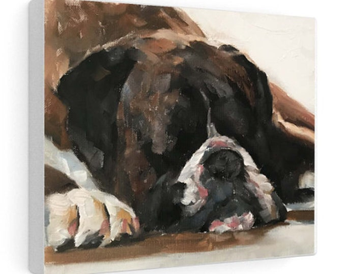 Boxer dog Sleeping Painting, PRINTS, Canvas, Posters, Commissions - Fine Art - from original oil painting by James Coates