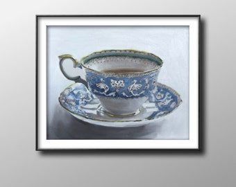 Cup of tea - Painting - Poster - Wall art - Canvas Print - Fine Art - from original oil painting by James Coates