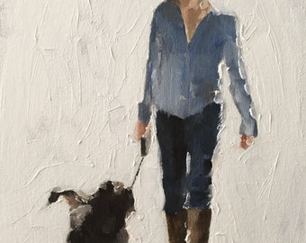 Dog Walking Painting Dog Walk Art PRINT Woman Walking Dog - Art Print  - from original painting by J Coates