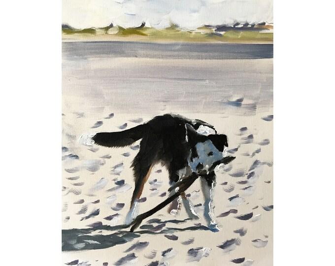 Dog Beach Painting Dog Art dog PRINT Dog Digging on Beach Art Print - from original painting by J Coates