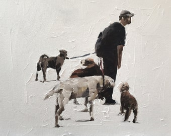 Dog Painting Dog Art Dog PRINT Dog Walker - Art Print - from original oil painting by J Coates