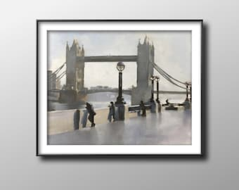 London Bridge - Painting -Wall art - Canvas Print - Fine Art - from original oil painting by James Coates