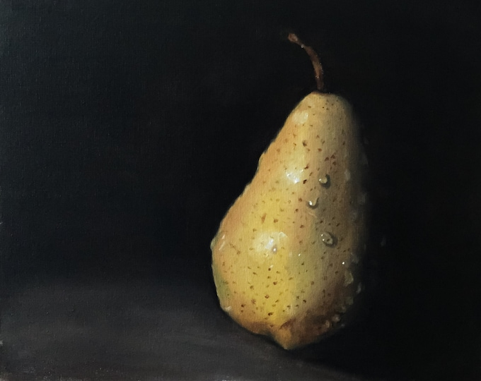 Pear Painting - Food art - Canvas and Paper Prints Fine Art from original oil painting by James Coates
