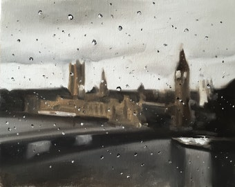 London Painting London Art London PRINT London in the Rain - Art Print - from original painting by J Coates