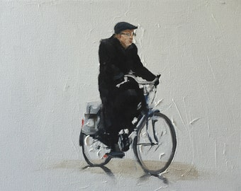 Old Man Cycling Painting Old Man Cycling Art Old Man PRINT Old Man on Bicylcle - Art Print - from original painting by J Coates
