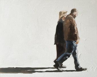 Couple Art Couple Painting Couple PRINT Couple Walking - Art Print  - from original painting by J Coates