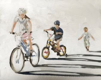 Children Cycling Painting Children Art Children PRINT Children Cycling - Art Print  - from original painting by J Coates