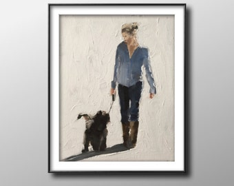 Dog walk - Painting - Poster -Wall art - Canvas Print - Fine Art - from original oil painting by James Coates