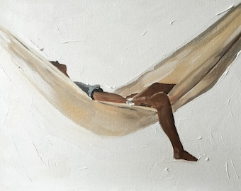 Woman Painting Woman in Hammock Art PRINT - Hammock Girl - Art Print  - from original painting by J Coates