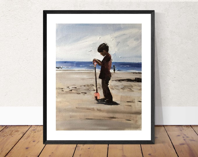 Child on beach - Painting Beach art - Beach Prints - Fine Art - from original oil painting by James Coates