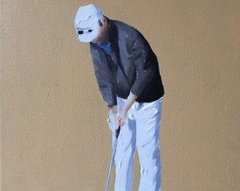 Gold Art Gof Painting Golf Art PRINT Golfer - Art Print  - from original painting by J Coates