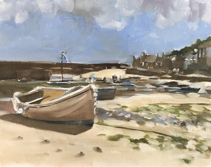 Boats Painting Boat Art PRINT Boat Beach Sea - Art Print  - from original painting by J Coates