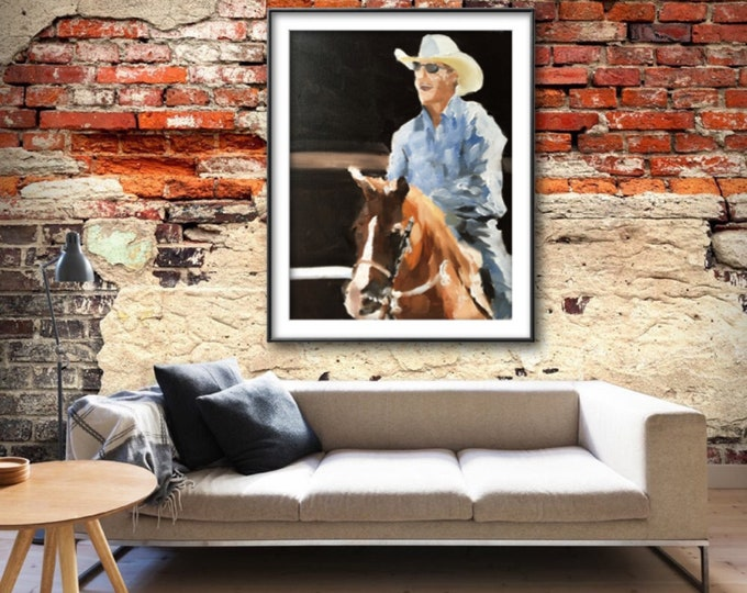 Horse rider - Painting - Poster - Wall art - Canvas Print - Fine Art - from original oil painting by James Coates