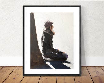 Woman meditating - Painting -Wall art - Canvas Print - Fine Art - from original oil painting by James Coates