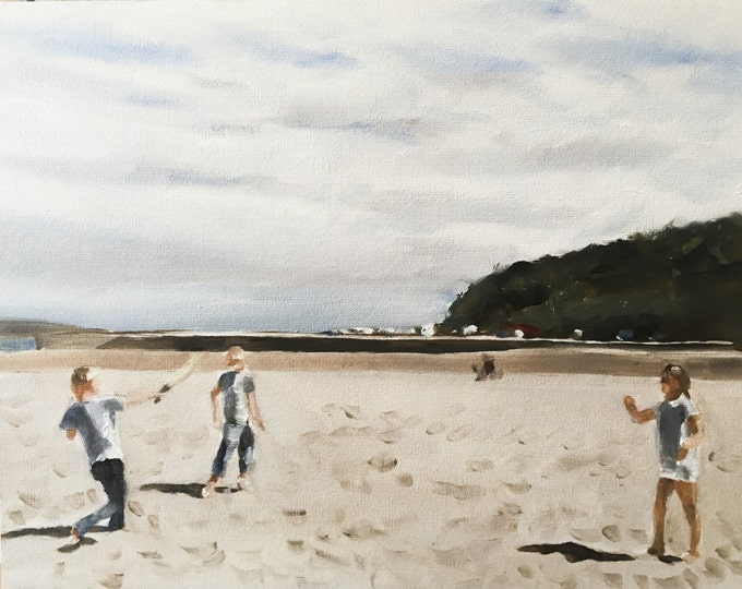 Children on beach - Painting Beach art - Beach Prints - Fine Art - from original oil painting by James Coates