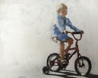 Bicycle Boy Painting Boy on Bicycle Art PRINT Art Print -from original painting by J Coates