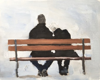 Couple Painting Couple On Bench Art PRINT Lovers in Park Art - Art Print - 8 x 10 inches - from original painting by J Coates