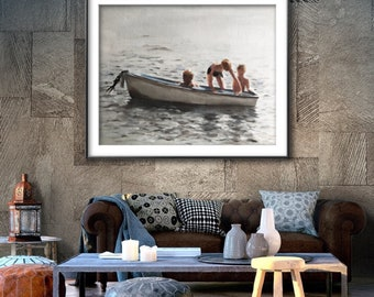 Children on beach - Painting -Wall art - Canvas Print - Fine Art - from original oil painting by James Coates