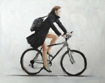 Woman on Bicycle Painting Art PRINT cycling Woman Wall Art - Art Print - from original painting by J Coates