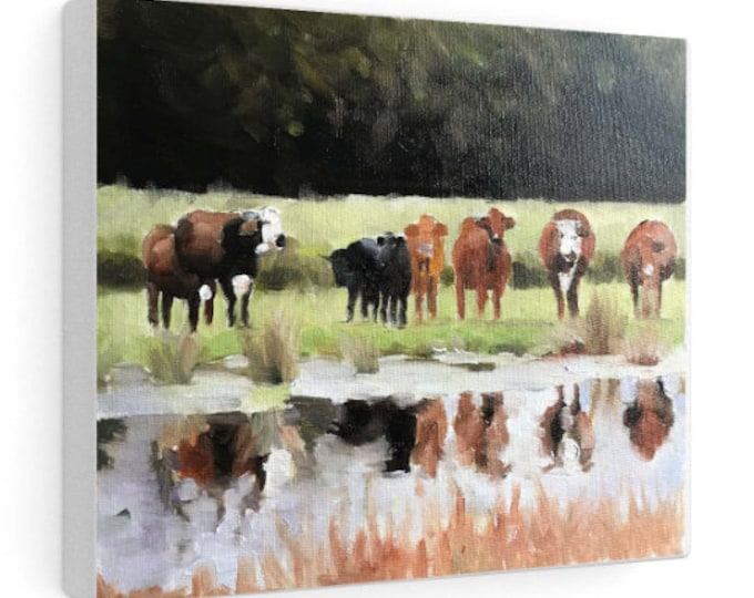 Cow Grazing Painting, PRINTS, Canvas, Posters, Originals, Commission - Fine Art, from original oil painting by James Coates