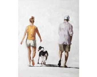 Couple Dog Painting Couple with Dog Art PRINT Walking the Dog - Art Print - from original painting by J Coates