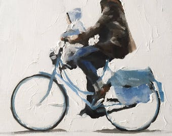 Woman Bicycle Painting Woman Bicycle Art PRINT Woman Walking With Bicycle - Art Print  - from original painting by J Coates