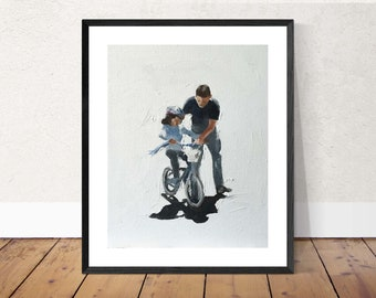 Father And Son Bicycle Abstract Art