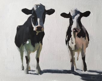 Cow Painting, Cow Art, Cow PRINT - Cow Oil Painting, Holstein Cow, two cows, farmhouse wall art, kids room decor, nursery artwork