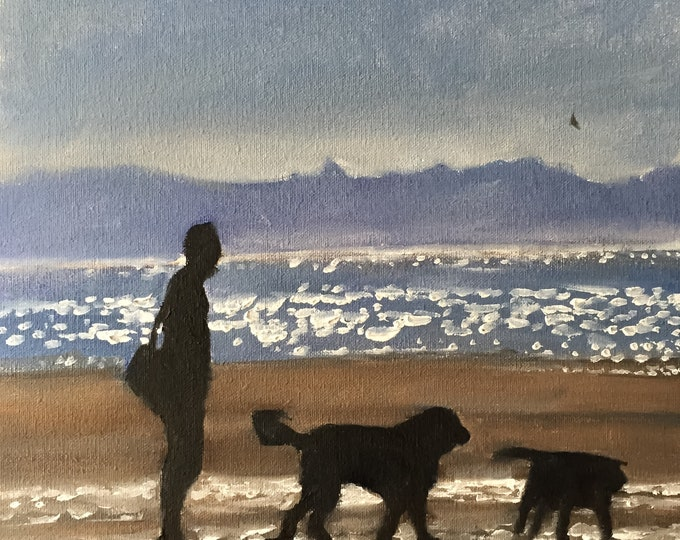 Dogs on beach - Painting Beach art - Beach Prints - Fine Art - from original oil painting by James Coates