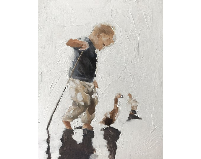 Boy Ducks Painting Boy Art PRINT Pet Painting - A Boy and His Ducks  - Art Print  - from original painting by J Coates
