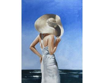 Woman painting woman art woman PRINT Woman at the Sea - Art Print  - from original painting by J Coates