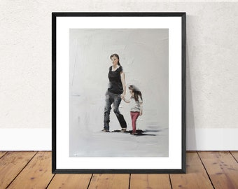 Mommy and daughter - Painting - Poster - Wall art - Canvas Print - Fine Art - from original oil painting by James Coates