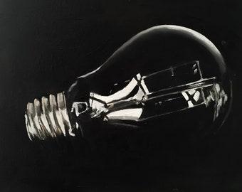 Light Bulb Painting Light Bulb art PRINT Light Bulb  - Art Print - from original painting by J Coates